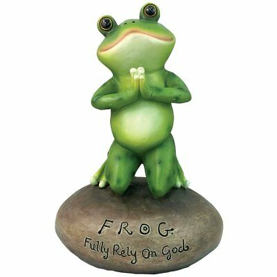 Inspirational Cute Praying Frog On Rock Statue By DWK | Novelty Collectible Frog