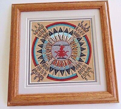 Native American Authentic Navajo Indian Sand Painting Framed And Matted