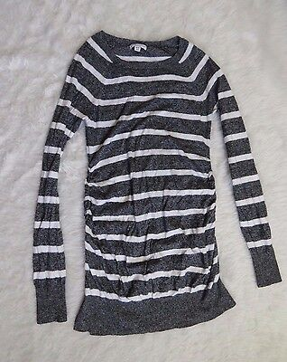 Liz Lange Maternity Womens Grey White Stripe Ruched  Long Sweater Size XS