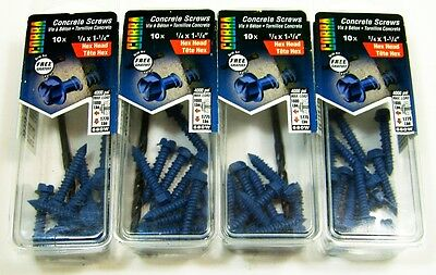 """Concrete Screws 4 Boxes of Cobra 10 Pack 1/4"""" x 1-1/4"""" Hex Head , with Drill Bit"""