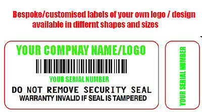 Bespoke customised Tamper Proof Warranty Void Stickers Protection Double Labels