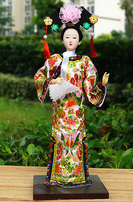 "12"" Ancient Asian Chinese Beauty Doll Qing Dynasty Princess Tourist Gift-TQ-pink"