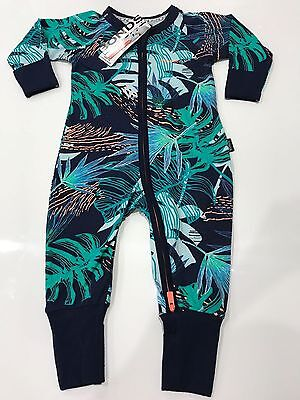 NWT Bonds Baby Boys Navy Palm Leaf Print Zip Wondersuit Size 000-3 RRP$24.95