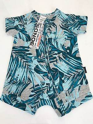 NWT Bonds Baby Boys Grey Green Palm Zip Summer Wondersuit Size 00-3 RRP$22.95