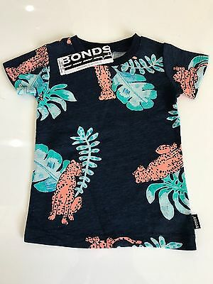 NWT Bonds Baby Boys Navy Blue Cheetah Print Tee T-Shirt Size 00-1 RRP$16.95