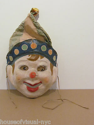 Rare Vintage Hand Painted Antique 40s Unique Halloween Clown Mask 30% to Charity