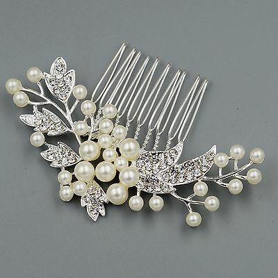 Bridal Hair Comb Pearl Crystal  Headpiece Hair Clip Pin Wedding Accessories 7244