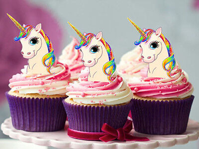 12 Stand Up Rainbow Unicorn Edible Wafer Cupcake Cake Decoration Images Toppers