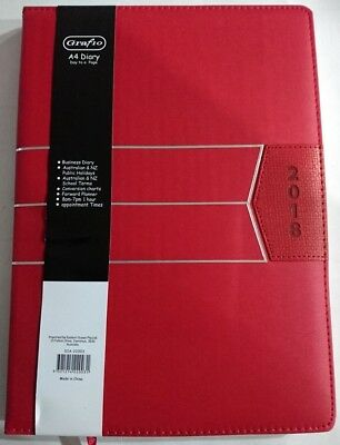NEW 2018 Business Diary A4 Day To Page Padded Cover 2018 Diary A4 Red