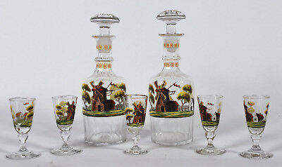 Set 2 Antique Liqueur Decanters & 5 Stemmed Cordials - Enameled Windmill Scenes