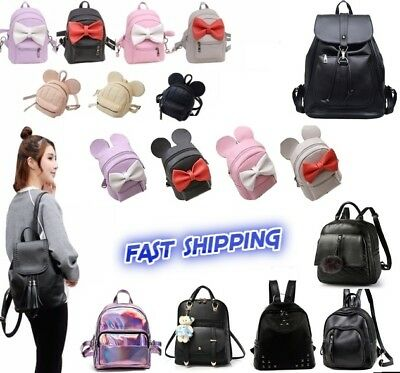 Women Girls Leather Nylon Convertible Small Mini Backpack Shoulder Chest bag