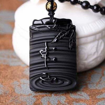 Chinese natural obsidian hand carved Guanyin meditation lucky pendant+necklace