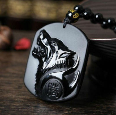 Chinese natural obsidian hand carved Wolf head lucky pendant+necklace
