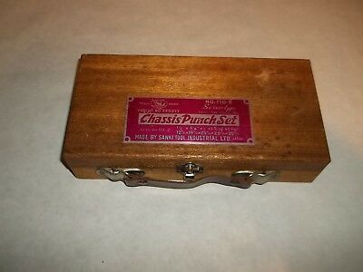 Vintage Shark Chassis Punch Set No. 110-E Sanki Tool Screw Type Orig. Wooden Box