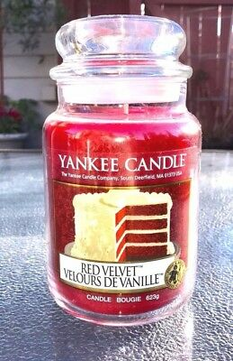 ☆☆Red- Velvet ☆☆Large Yankee Candle Jar 22 Ounce Brand New☆☆Divine! White Label