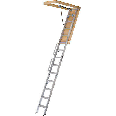 "Attic Ladder Aluminum 350 lbs Load Capacity 22.5"" x 63"" Ceiling Height 10'-12'"