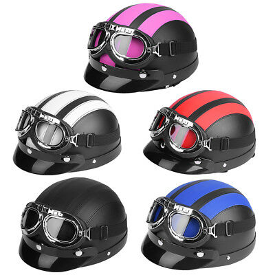 Motorcycle Scooter Bike Open Face Leather Half Helmet Sun Visor Goggles Scarf SS