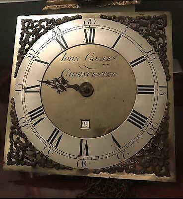"30 Hour 10.5"" Brass And Silvered Dial John Coates Of Cirencester GOOD MAKER"