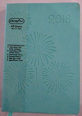 New 2018 Pastel Embossed Diary A5 Day To Page Pastel Colour w Pattern Green