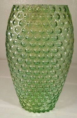 Vintage Akcam Green Bubble/Hobnail Art Glass Vase – Made in Turkey - 11 3/4""