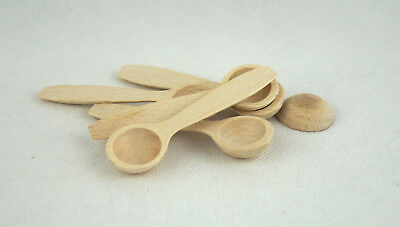Small Little MINI WOODEN SPOON Scoop Salt Sugar 8cm (Set of 1,10,50,100)Job Lot