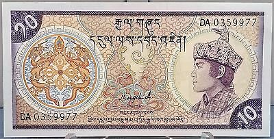 1986 Bhutan 10 Ngultrum Currency Note, Very High Grade Note, Pick 15a