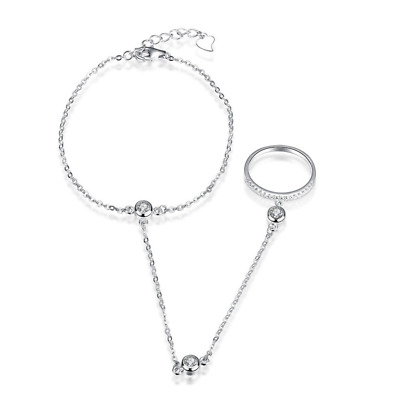 S925 Sterling Silver Bangle Bracelet Cuff Hand Chain with CZ Cubic Zirconia