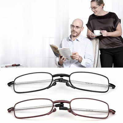 Vintage Folding Black Frame Reading Glasses Rotation Eyeglass +1.0 - +4.0