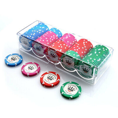 100 Chip Crown Millions Poker Set Clear Acrylic Rack Cover 14g Chips New Sealed