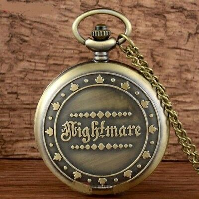 Nightmare Before Christmas Antique Bronze Pocket Watch Pendant Necklace + Gift