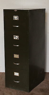 A Vintage Industrial 1950s Art Metal of London Four High Filing Cabinet