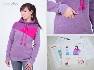 """Schnittmuster Freestyle Hoodie """"Nelly """"  Gr. 32 bis 54 by pattydoo"""