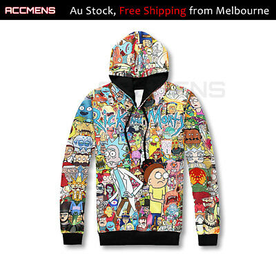 Rick and Morty Carton Hoodie Jumpler Jacket Tops elastic waist cuff L-4XL