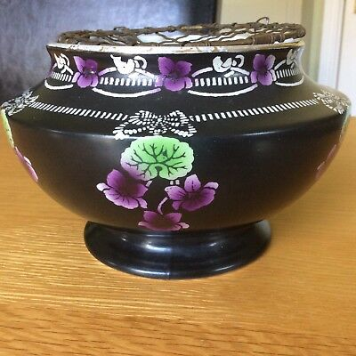 Shelley England Black Floral Designed Ceramic Rose Bowl With Grill