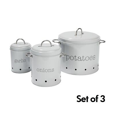 Set of 3 Kitchen Canisters Vegetable Pantry Metal Food Storage Retro Vintage Tin
