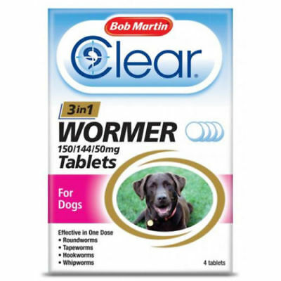 Bob Martin 3 in 1 Dewormer Tablets for Dogs - 4 Tablets!