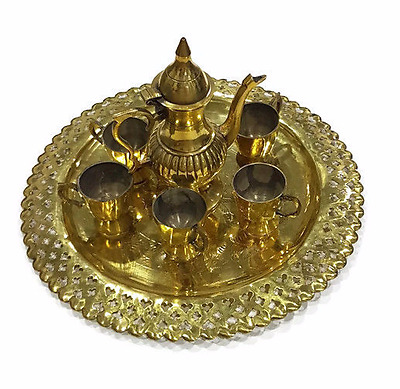 vintage brass plated Middle East / Arabic small coffee pot / Dallah -14.2 cm