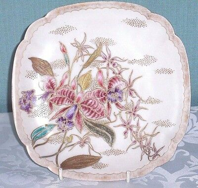 Art Deco Tube Lined Oriental Japamese Style Plate hand painted floral lilles 20s