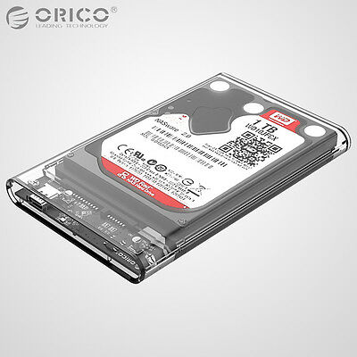 """ORICO Transparent USB 3.1 Type-C to 2.5"""" Inch SSD Hard Drive Disk HDD Enclosure"""
