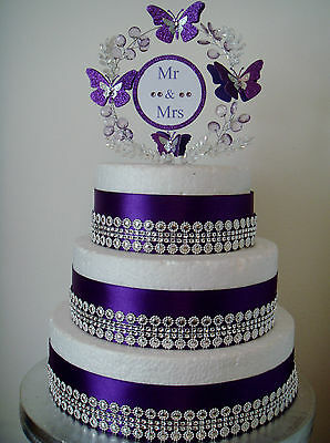 Mr and Mrs  butterfly crystal wedding anniversary cake topper or set