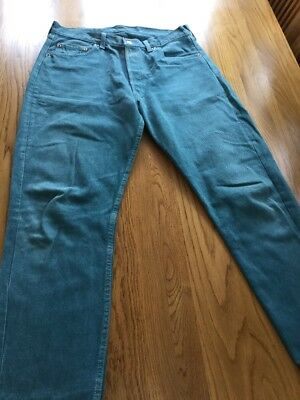 LEVI'S 501? 504? VINTAGE GREEN DYE DENIM RED TAB JEANS W32 26L Size 12 Cut Off