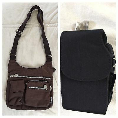 2 Baggallini Bags - Brown Crossbody Messenger + Black Belt Pouch Organizer