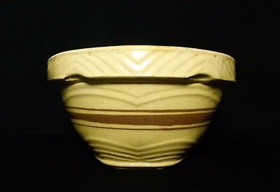 Antique Early 20Th Cent. American Yellowware Brown Banded Ceramic Mixing Bowl