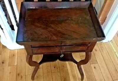 Antique Victorian Mahogany Tray Top Chest/table