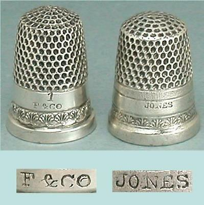 2 Antique American Sterling Silver Child's Thimbles w/ Rare Marks* Circa 1880-90