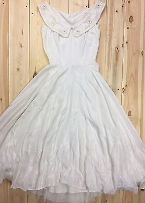 Formal Prom Party Gown 1940's 1950's VTG White Rhinestone Midi Wedding Bridal