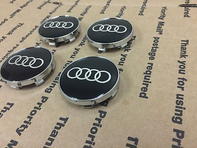 New Audi Set 4 Center Wheel Wheels Rim Rims Hub Hubs Cap Caps 60Mm Black Ring
