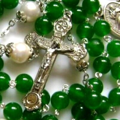 Rare Green Jade Beads AAA10MM Real Pearl Rosary Cross CATHOLIC NECKLACE CRUCIFIX
