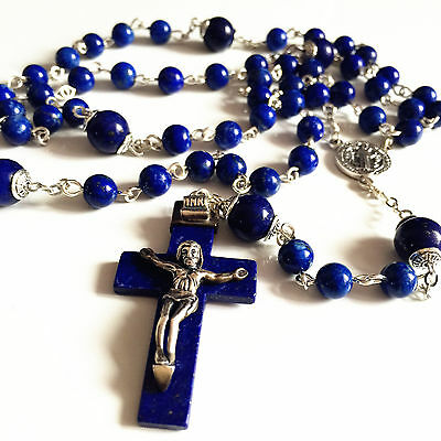 Sterling Silver Lapis lazuli CROSS CRUCIFIX Beads Rosary CATHOLIC NECKLACE box