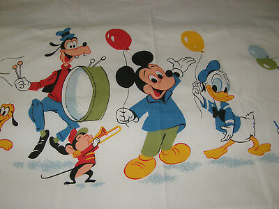 Vtg. Wamsutta Disney Mickey Mouse & Friends Twin Flat Fitted Sheet Set EXC Minty
